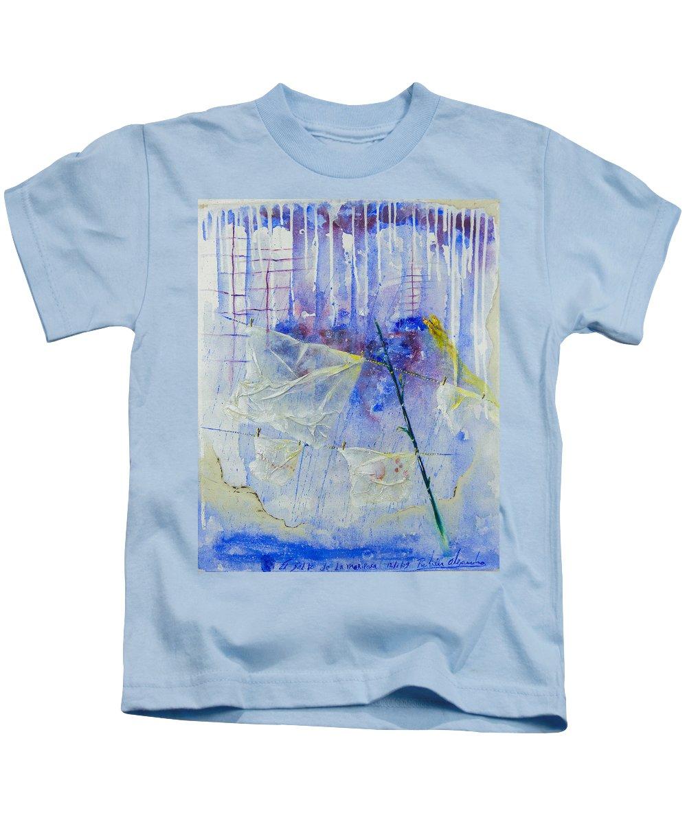 Literature Kids T-Shirt featuring the painting El Salto by Ruben Santos