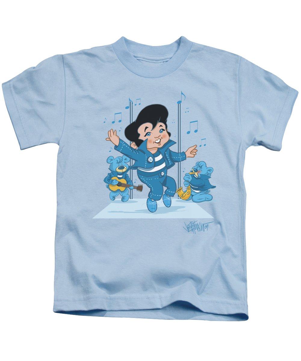Kids T-Shirt featuring the digital art Elvis - Jailhouse Rocker by Brand A