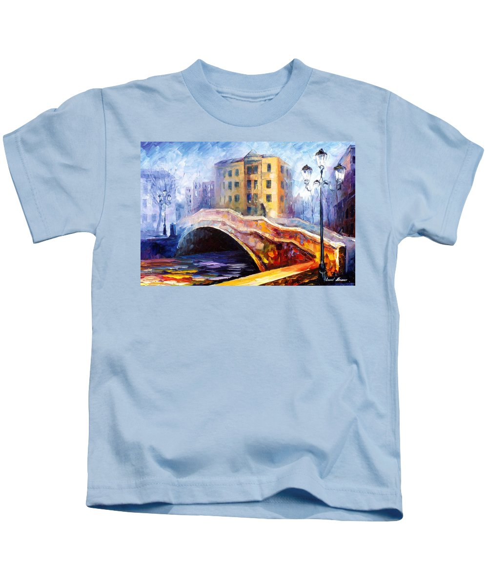 Oil Paintings Kids T-Shirt featuring the painting Emotional Autumn - Palette Knife Oil Painting On Canvas By Leonid Afremov by Leonid Afremov