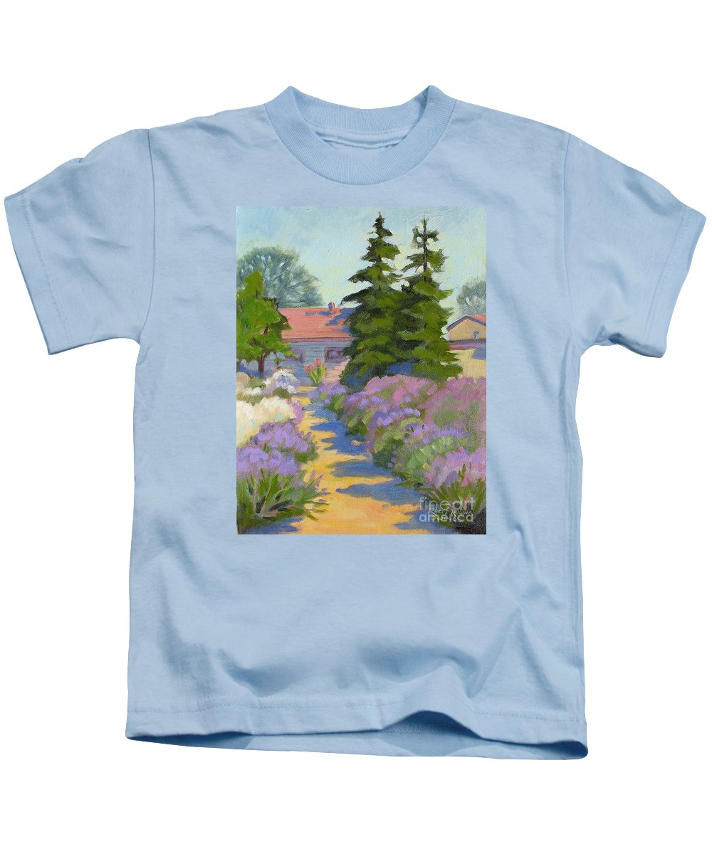 Lavender Kids T-Shirt featuring the painting English Lavender by Rhett Regina Owings