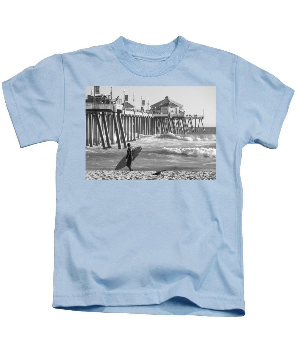 Huntington Beach Kids T-Shirt featuring the photograph Existential Surfing At Huntington Beach by Scott Campbell