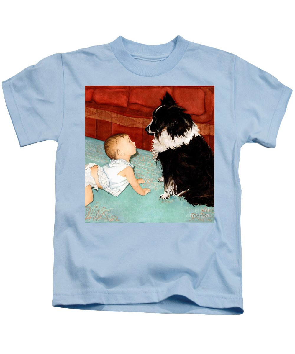 Child Kids T-Shirt featuring the painting Face-to-nose by Barbara Jewell