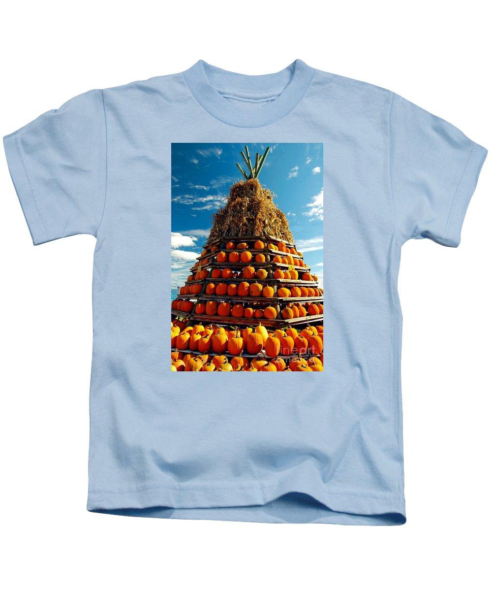 #fall #autumn # Kids T-Shirt featuring the photograph Fall Pumpkins by Kathleen Struckle