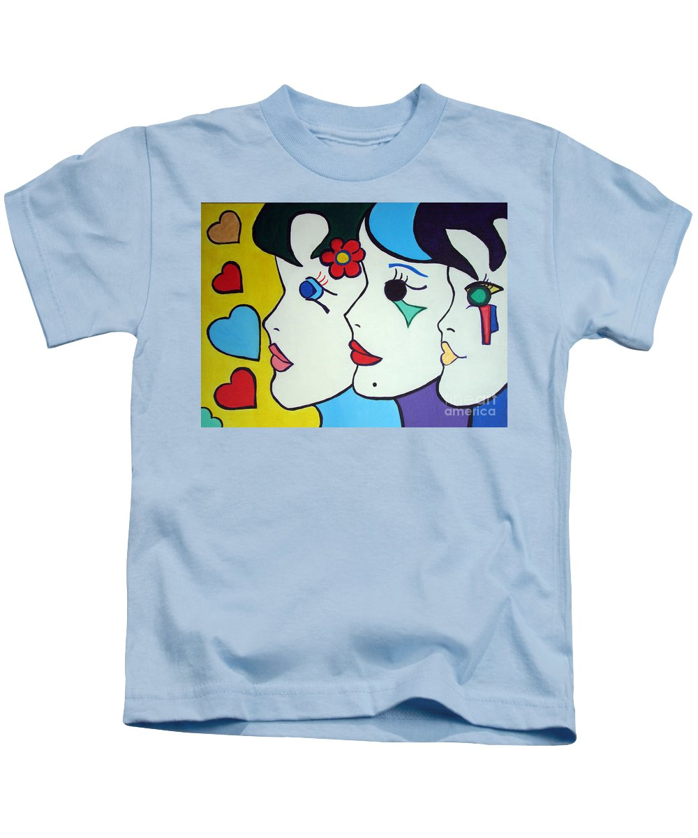 Pop-art Kids T-Shirt featuring the painting Falling In Love by Silvana Abel