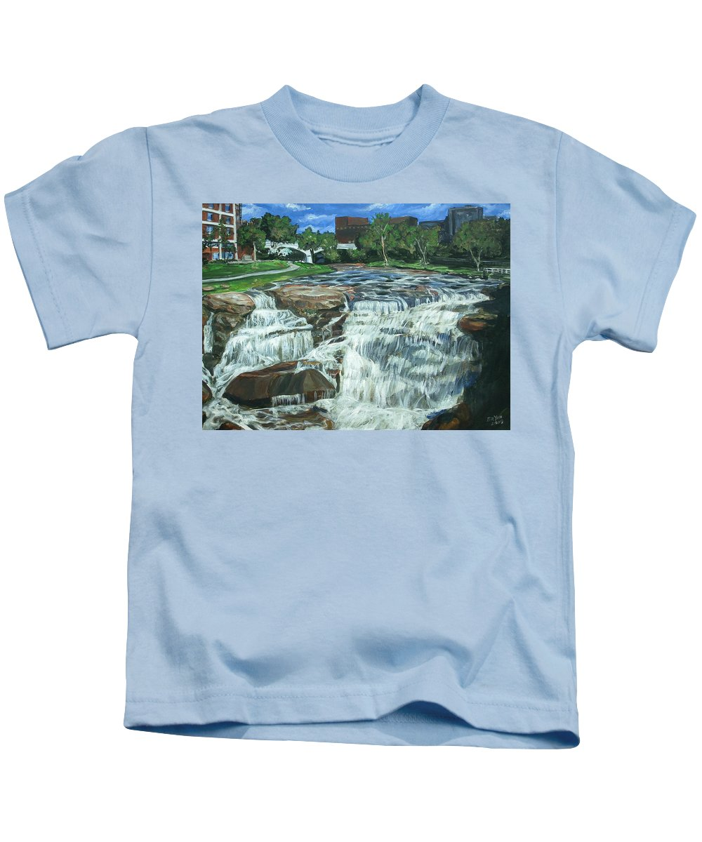 Waterfall Kids T-Shirt featuring the painting Falls River Park by Bryan Bustard