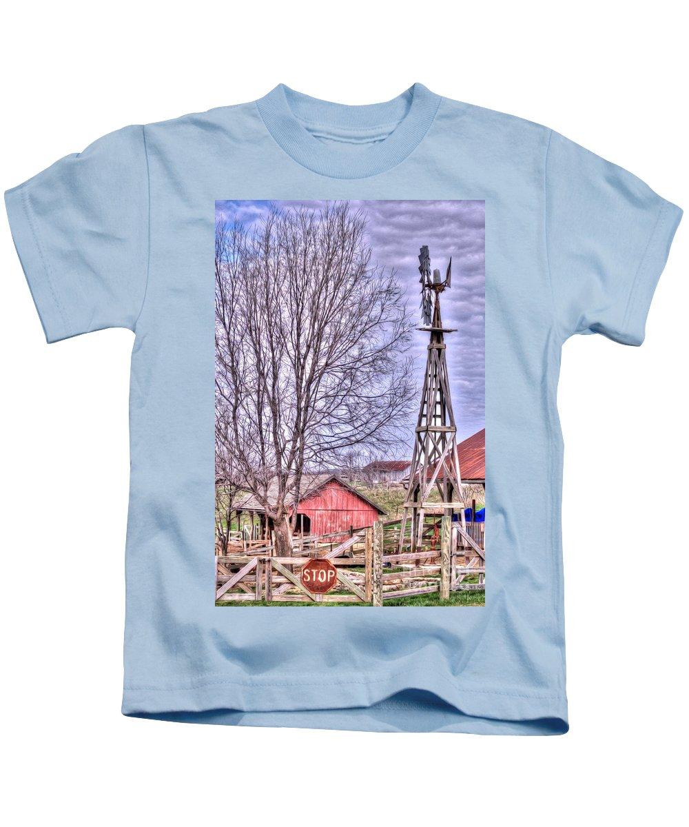 Windmill Kids T-Shirt featuring the photograph Farm - Windmill - Red Barn Farm - Missouri by L Wright