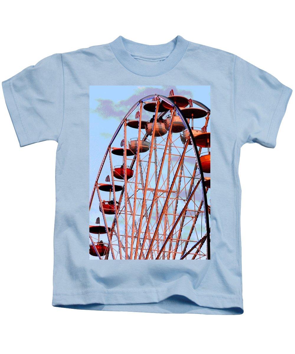 Ferris Wheel Kids T-Shirt featuring the photograph Ferris Wheel At Sunset by Joe Kozlowski