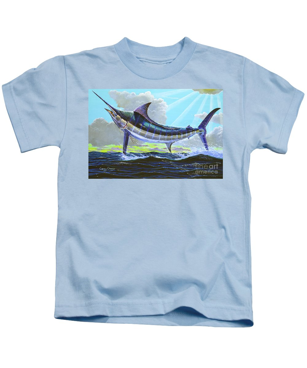 Marlin Kids T-Shirt featuring the painting First Run 00102 by Carey Chen