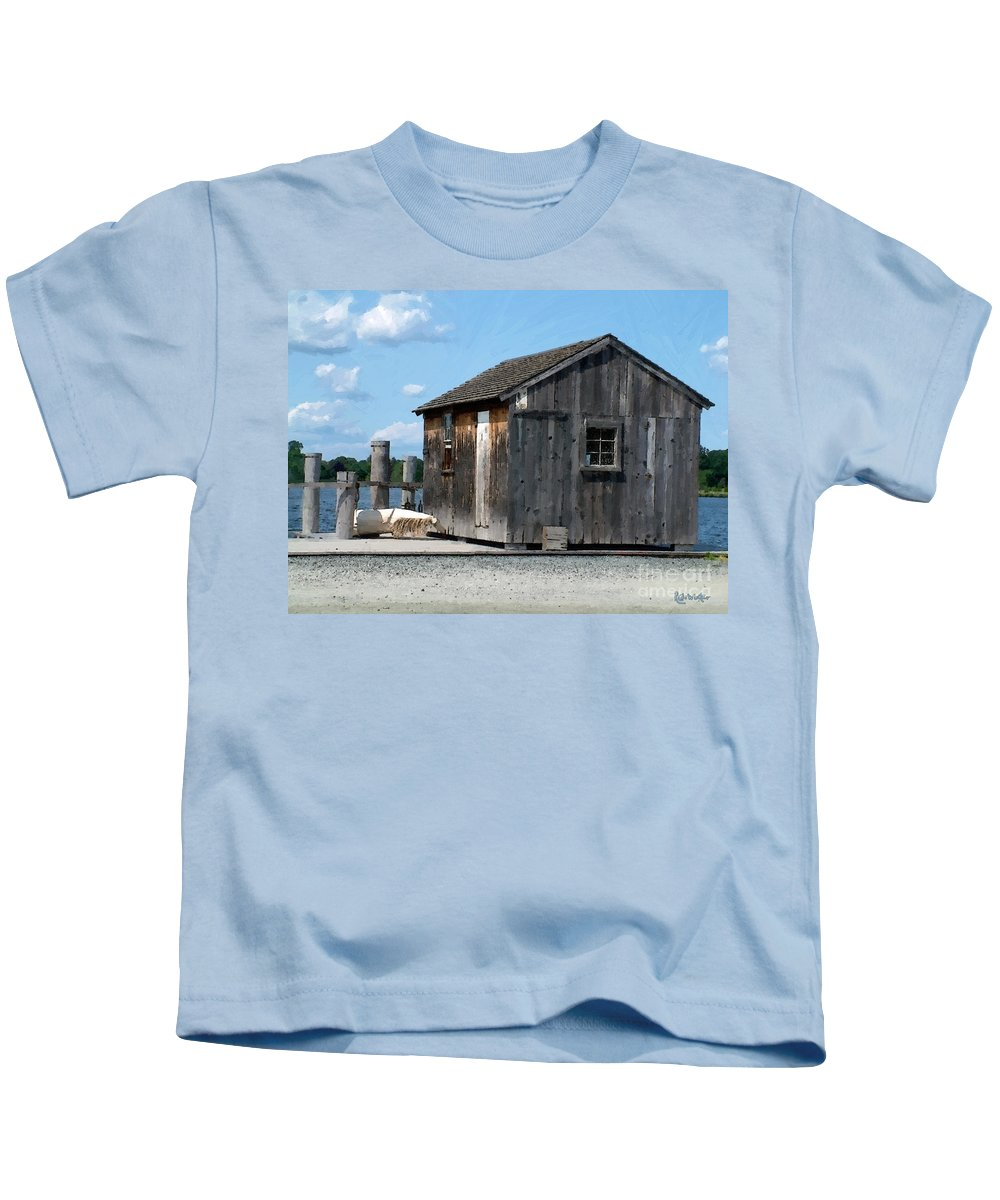 Shed Kids T-Shirt featuring the painting Fishing Shack On The Mystic River by RC DeWinter