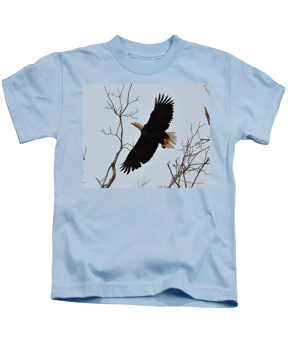 Eagle Kids T-Shirt featuring the photograph Flight by Terry Anderson