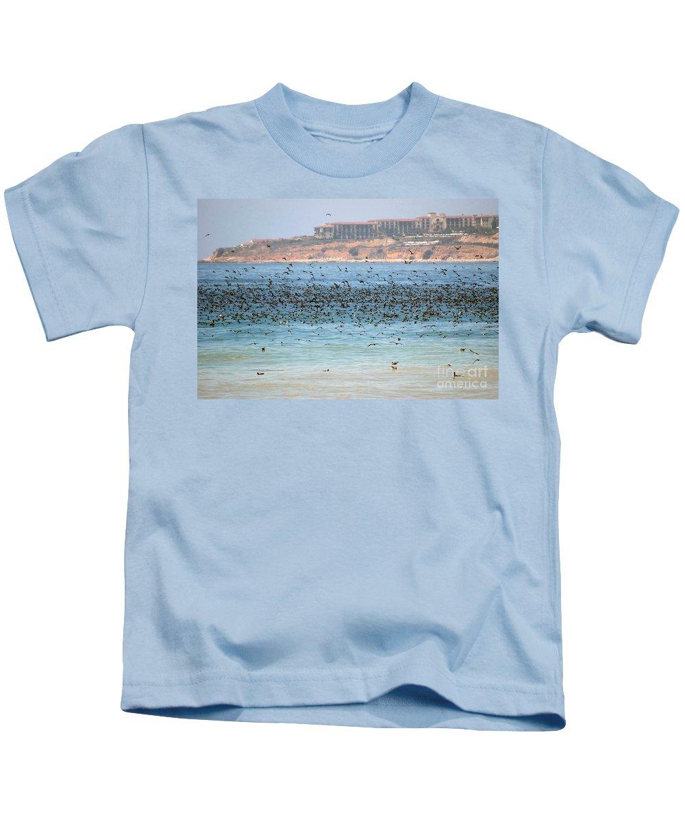 Flock Kids T-Shirt featuring the photograph Flocking At Terranea by Toula Mavridou-Messer