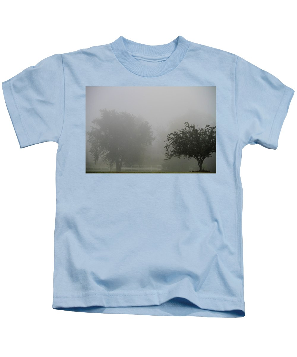 Fog Kids T-Shirt featuring the photograph Foggy Fence by Dan Sproul