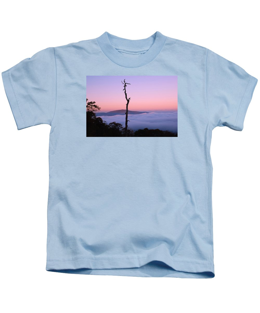 Shenandoah National Park Kids T-Shirt featuring the photograph Foggy Mountain Morning by Francie Davis