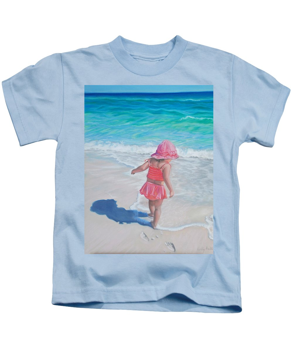 Realistic Kids T-Shirt featuring the pastel Footprints In The Sand by Holly Kallie