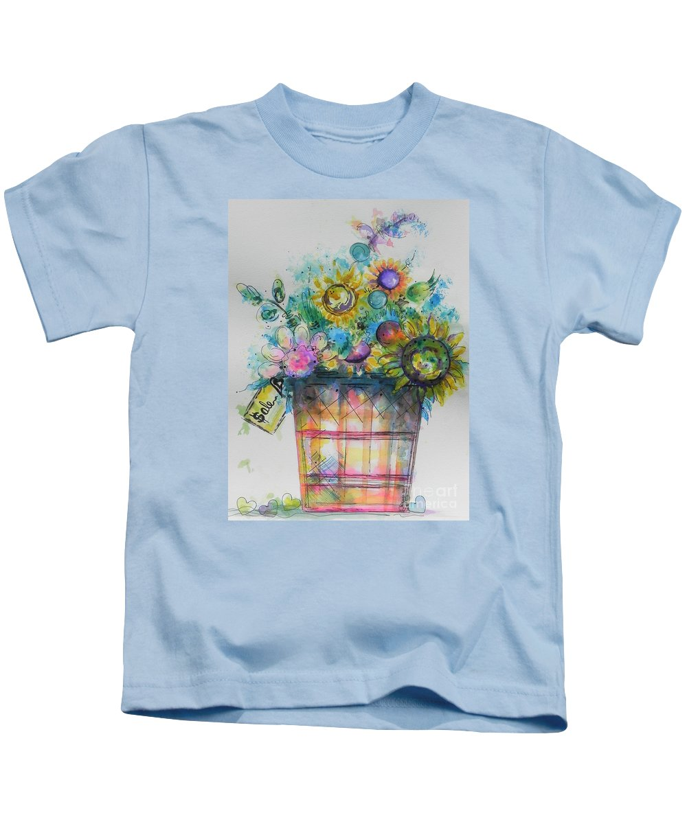 Watercolor And Ink Painting Kids T-Shirt featuring the painting For Sale by Chrisann Ellis