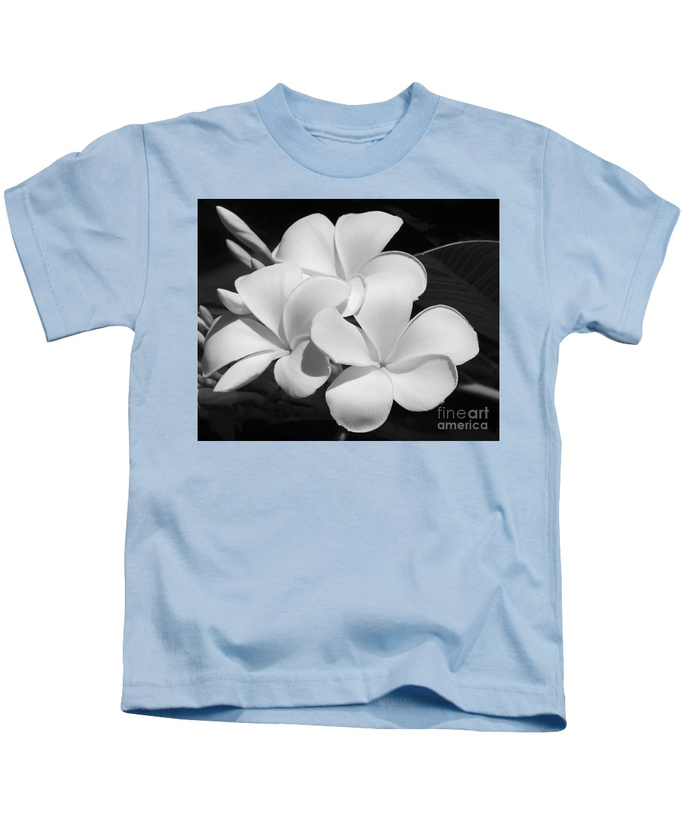 Art Kids T-Shirt featuring the photograph Frangipani In Black And White by Sabrina L Ryan