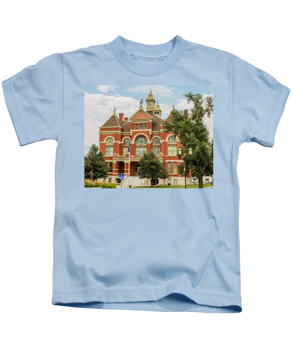 Court Kids T-Shirt featuring the photograph Franklin County Courthouse 4 by Ken Kobe