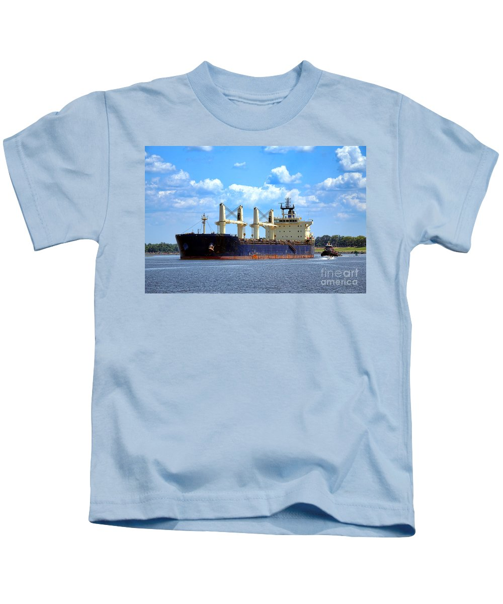 Cargo Kids T-Shirt featuring the photograph Freight Hauler by Olivier Le Queinec