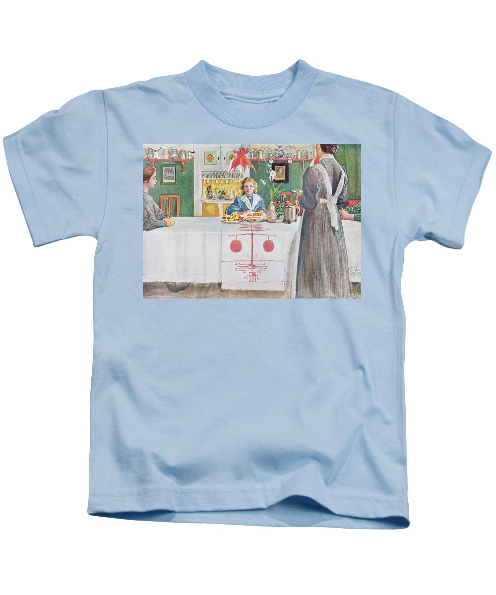 Illustration Kids T-Shirt featuring the drawing Friends From The Town - Dining Room by Carl Larsson