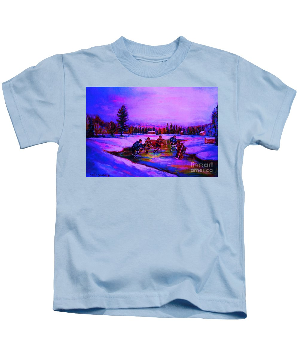 Hockey Kids T-Shirt featuring the painting Frozen Pond by Carole Spandau