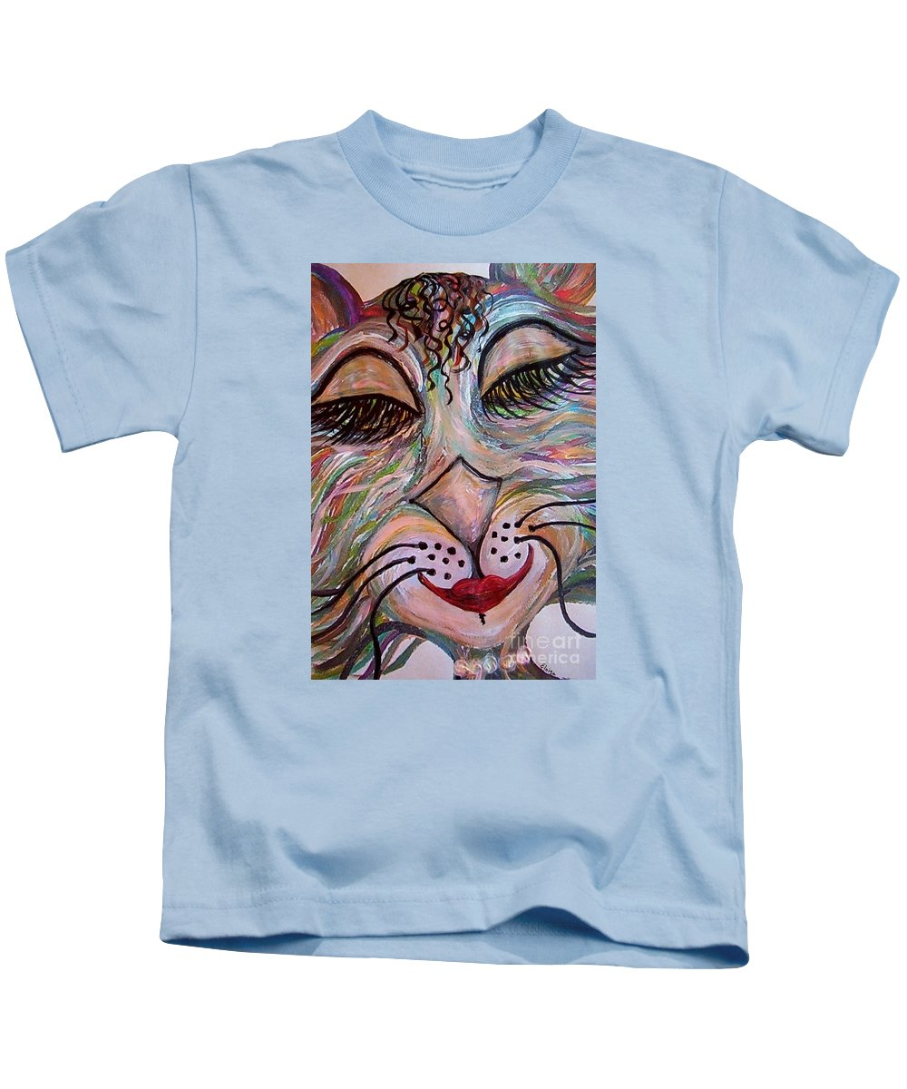 Cat Kids T-Shirt featuring the painting Funky Feline by Eloise Schneider Mote