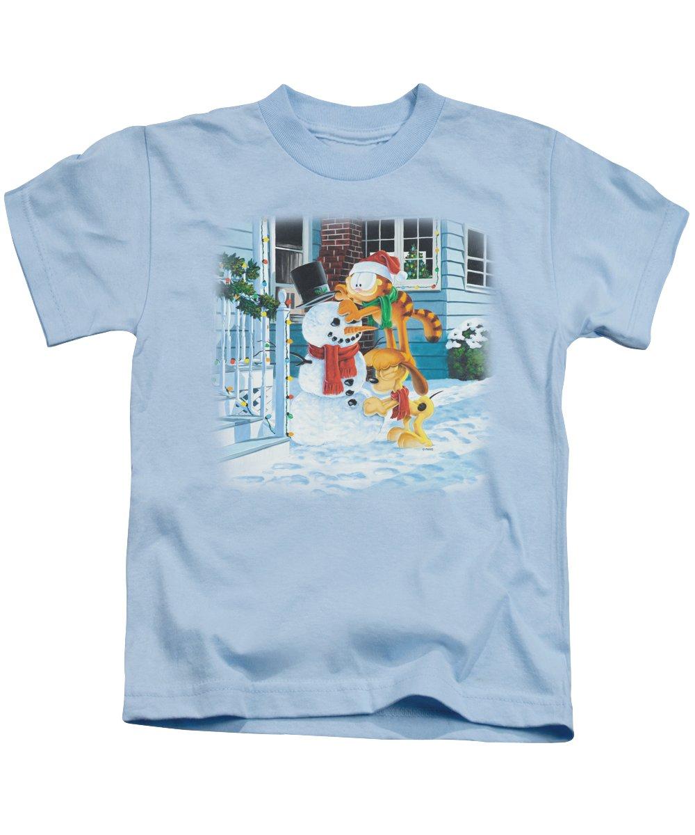 Garfield Kids T-Shirt featuring the digital art Garfield - Snow Fun by Brand A
