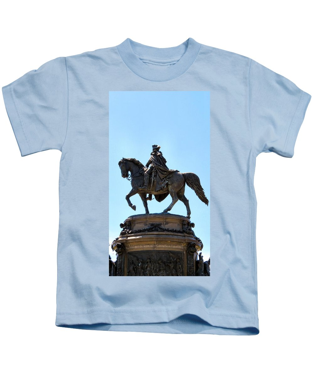 Philadelphia Kids T-Shirt featuring the photograph George And His Horse by Art Dingo