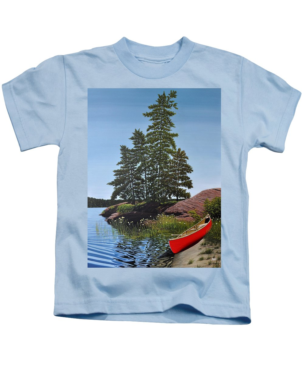 Landscapes Kids T-Shirt featuring the painting Georgian Bay Beached Canoe by Kenneth M Kirsch