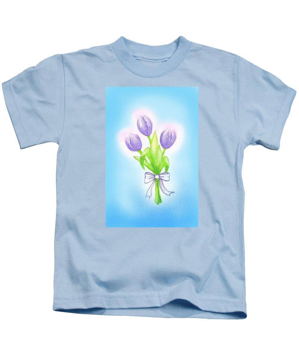 Purple Tulips Kids T-Shirt featuring the drawing Gift by Keiko Katsuta