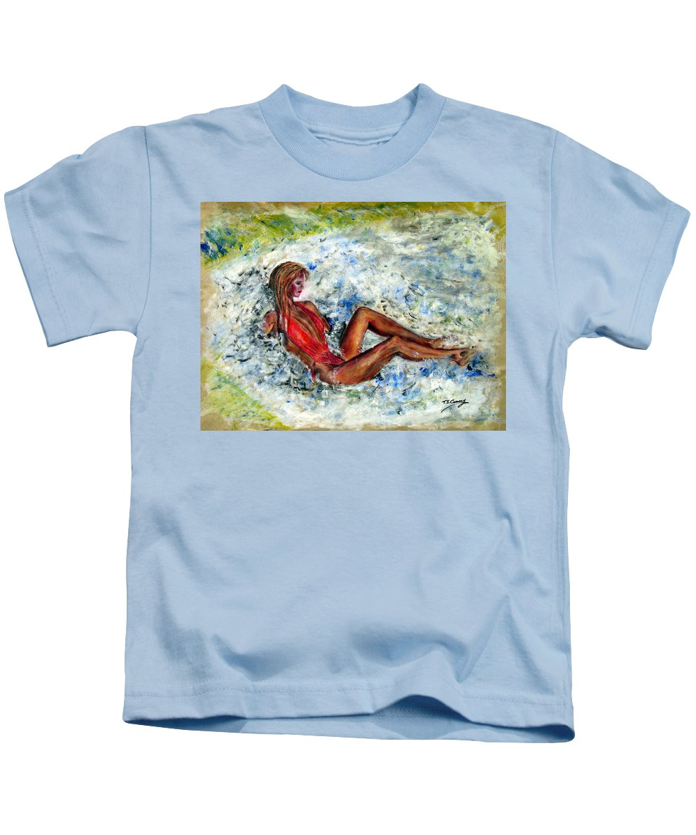 Girl Kids T-Shirt featuring the painting Girl In A Red Swimsuit by Tom Conway