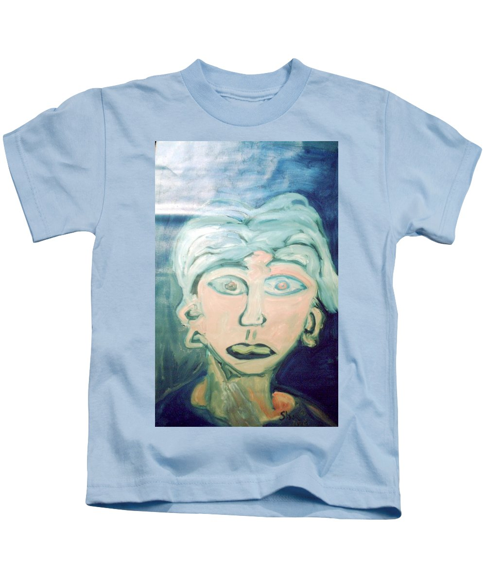 Blue Hair Kids T-Shirt featuring the painting Girl With Ear Rings by Shea Holliman