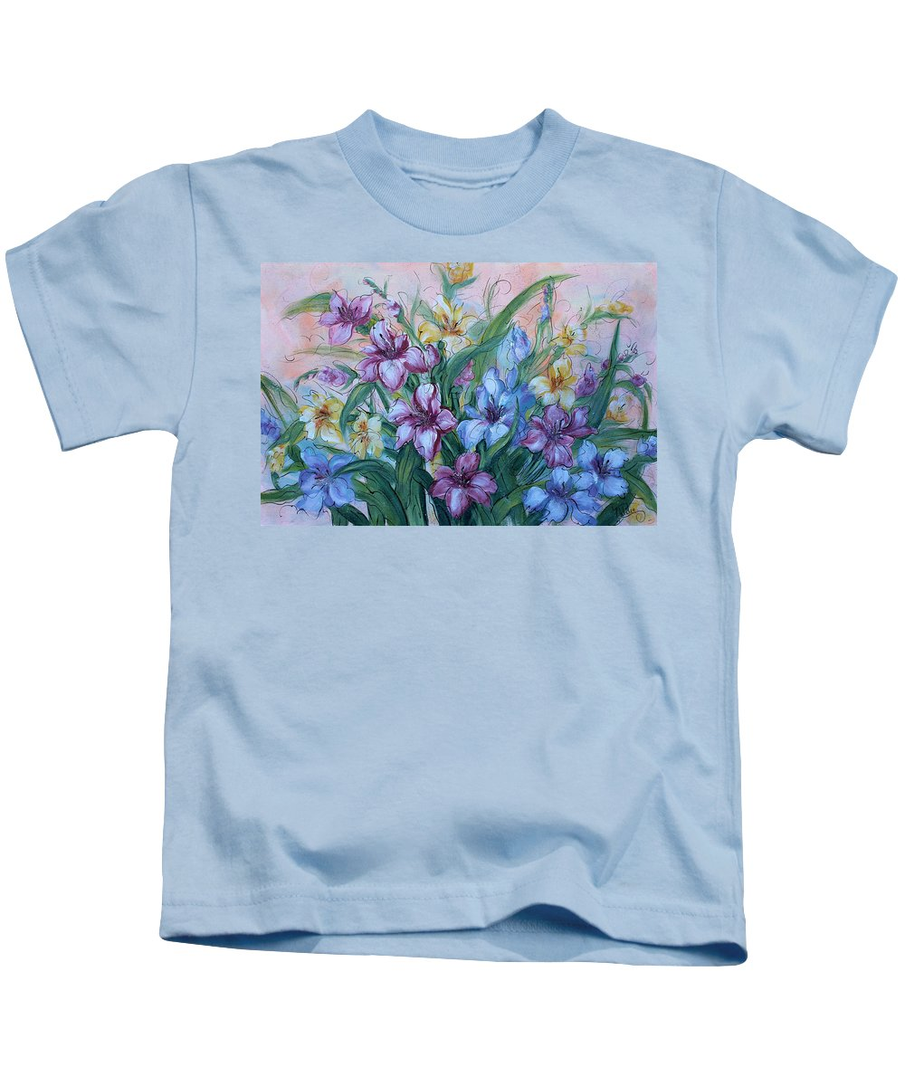 Gladiolus Kids T-Shirt featuring the painting Gladiolus by Natalie Holland