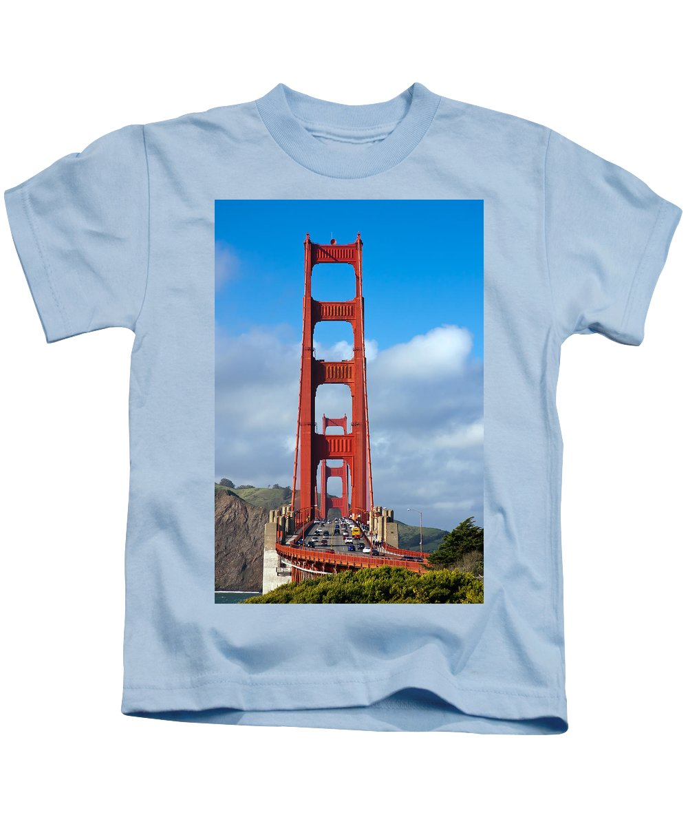 3scape Kids T-Shirt featuring the photograph Golden Gate Bridge by Adam Romanowicz