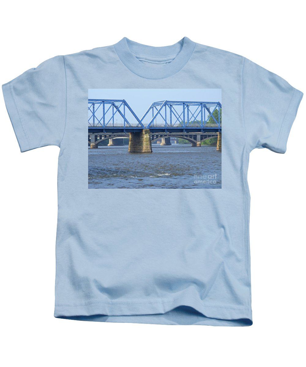 Bridge Kids T-Shirt featuring the photograph Grand Rapids Crossings by Ann Horn