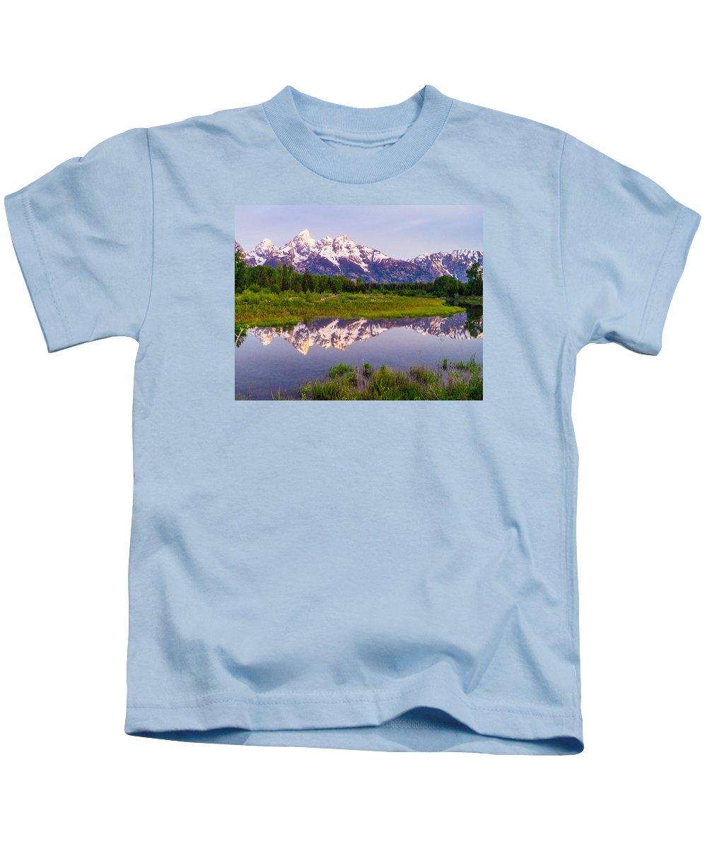 Schwabachers Landing Kids T-Shirt featuring the photograph Grand Teton Reflection by Joe Kopp