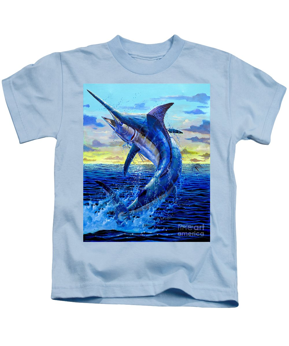 Marlin Kids T-Shirt featuring the painting Grander Off007 by Carey Chen