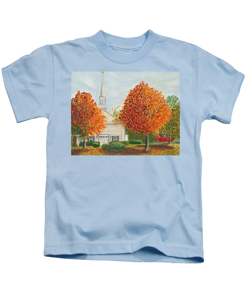 Fall Kids T-Shirt featuring the painting Granville Church by Cindy Hierl