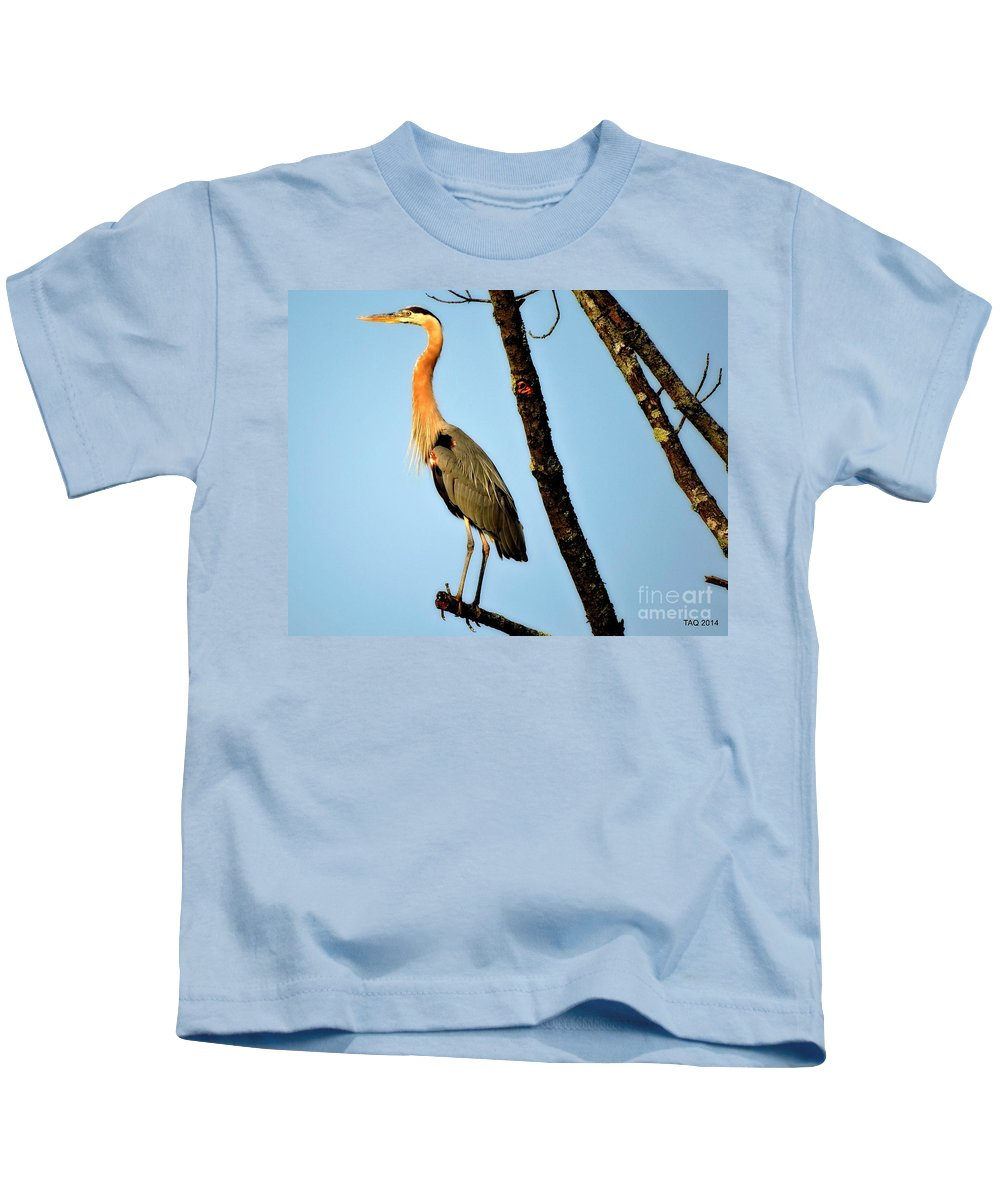 Great Blue Heron Kids T-Shirt featuring the photograph Great Blue Sunset by Tami Quigley