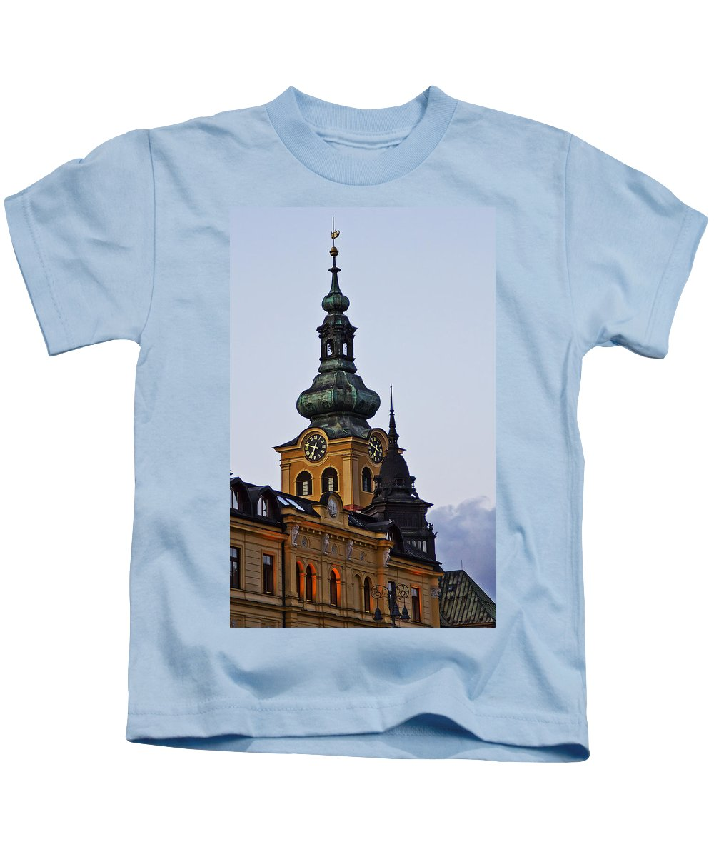 Slovakia Kids T-Shirt featuring the photograph Green Tower by Alex Art and Photo