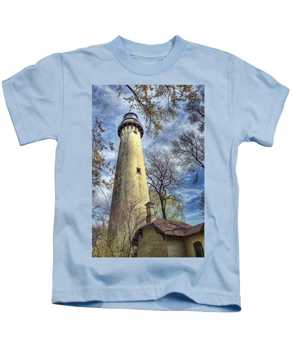 Lighthouse Kids T-Shirt featuring the photograph Grosse Point Lighthouse Color by Scott Norris