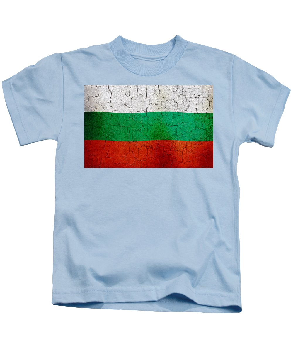 Aged Kids T-Shirt featuring the digital art Grunge Bulgaria Flag by Steve Ball