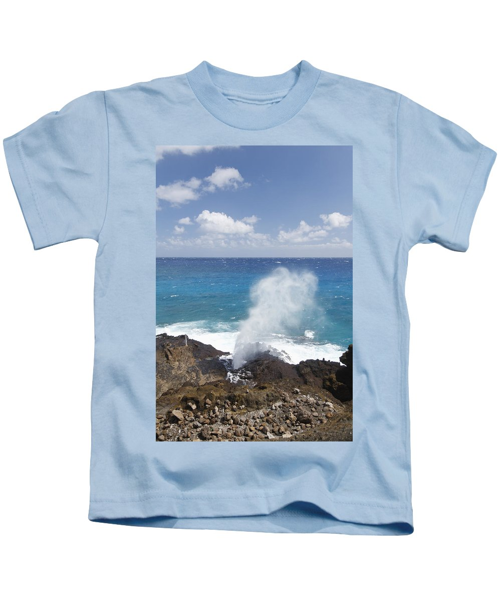 Blow Kids T-Shirt featuring the photograph Halona Blowhole by Brandon Tabiolo