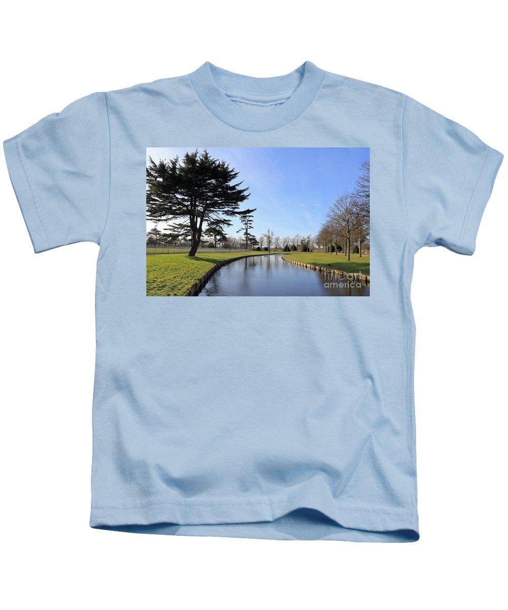 Hampton Court Palace England Kids T-Shirt featuring the photograph Hampton Court Palace Moat England by Julia Gavin