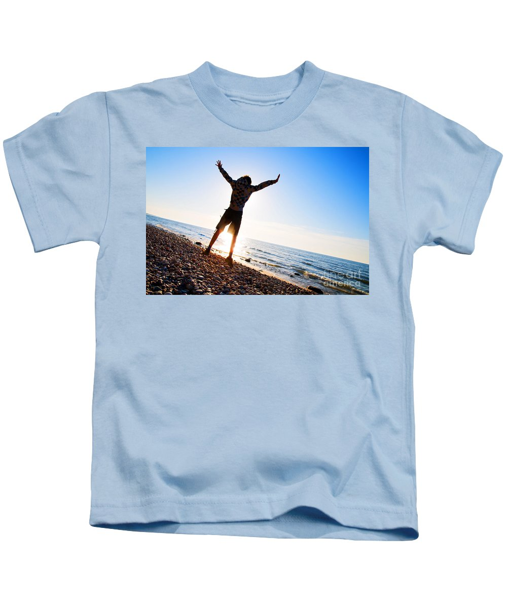 Beach Kids T-Shirt featuring the photograph Happiness In The Beach Scenery by Michal Bednarek
