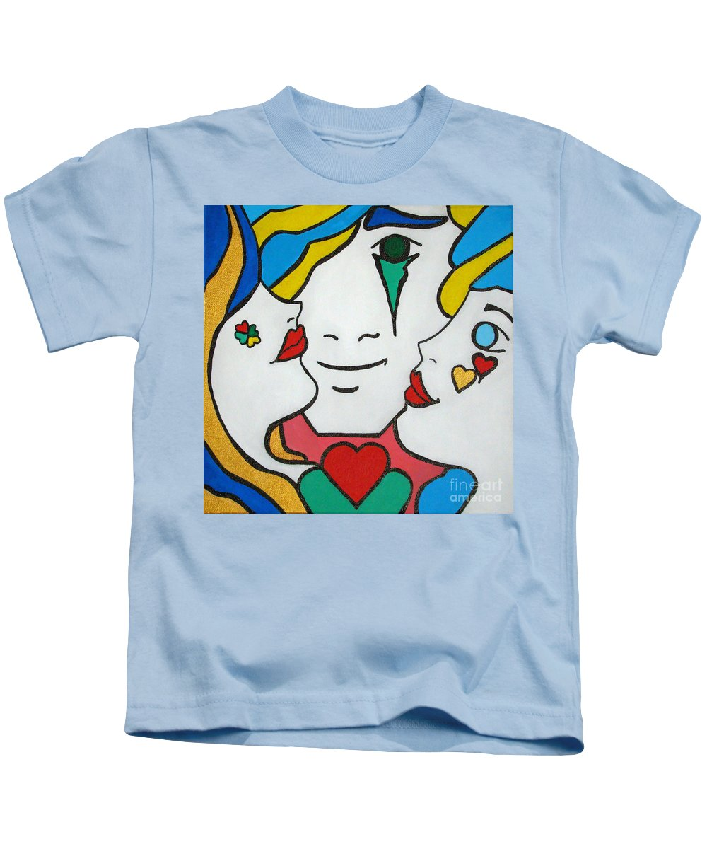 Pop-art Kids T-Shirt featuring the painting Happy Days by Silvana Abel