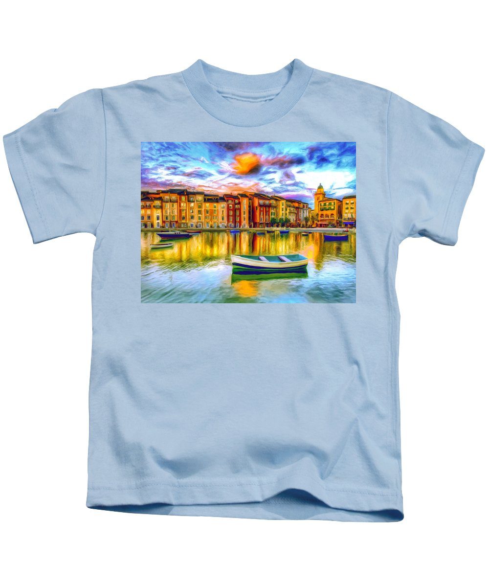 Harbor Kids T-Shirt featuring the painting Harbor At Sunset by Dominic Piperata