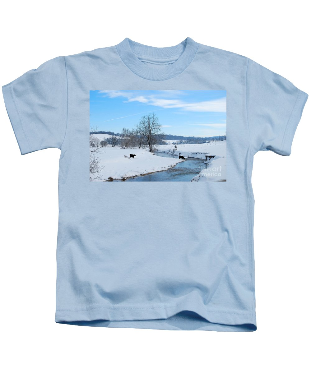 Hays Creek Kids T-Shirt featuring the photograph Hays Creek Winter by Todd Hostetter