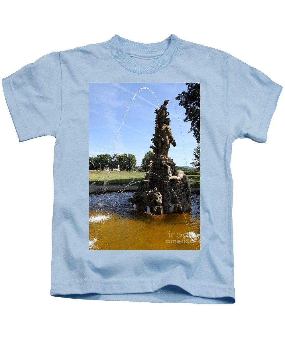 Franken Kids T-Shirt featuring the photograph Hercules Sculpture Water Fountain by Christiane Schulze Art And Photography