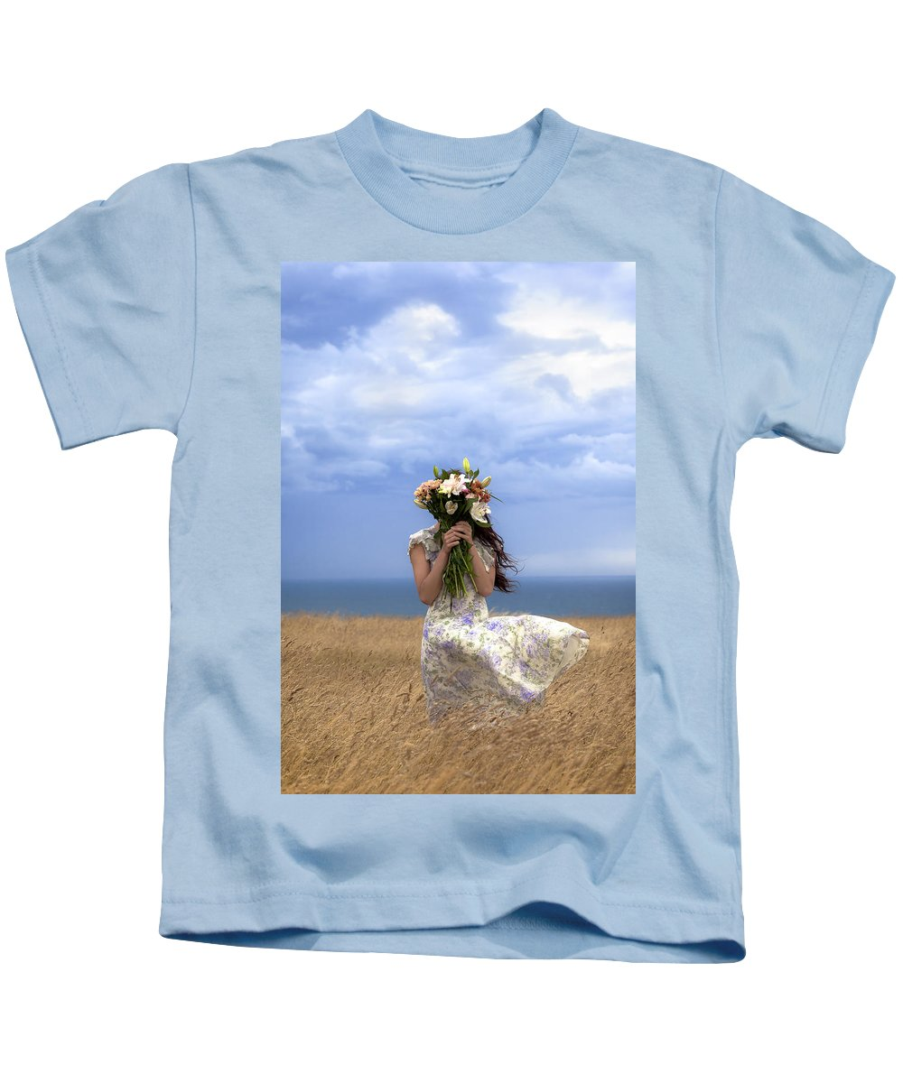 Girl Kids T-Shirt featuring the photograph Hiding by Joana Kruse