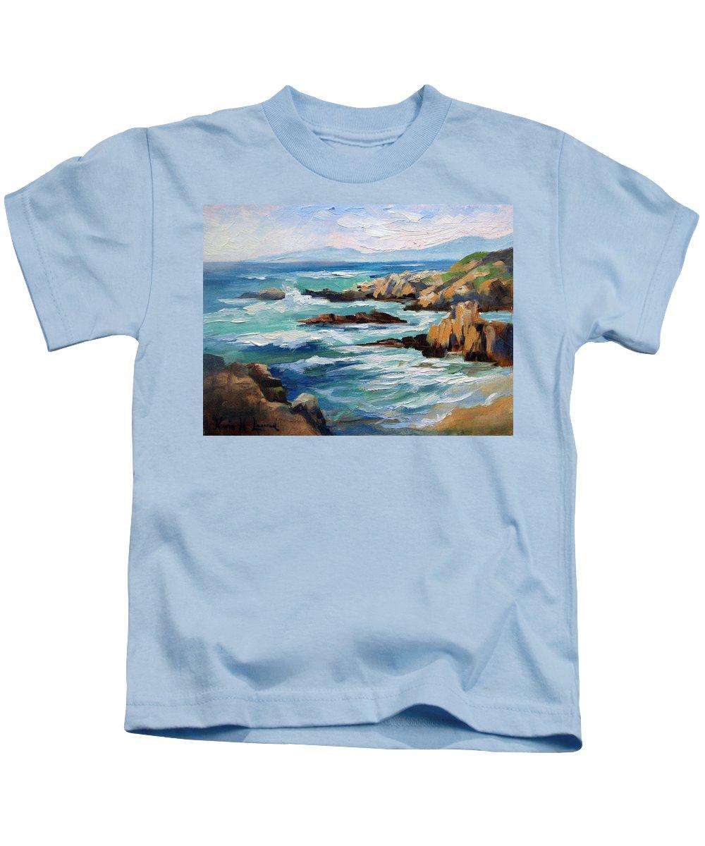 Asilomar Beach Kids T-Shirt featuring the painting High Surf Asilomar Beach by Karin Leonard